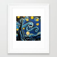 targaryen Framed Art Prints featuring Tardis Starry Night by DavinciArt