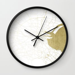 White on Gold Dublin Street Map Wall Clock