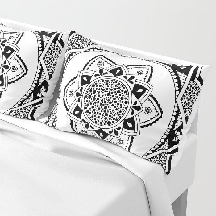 Sirasana black mandala on white Pillow Sham