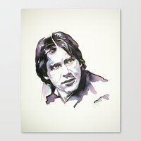 han solo Canvas Prints featuring Han Solo by Karina Fraser