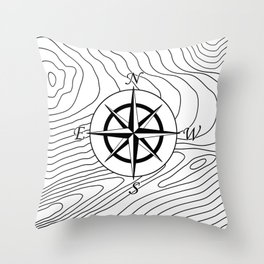 Topographic Line Pattern with Compass #797 Throw Pillow