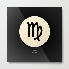 Virgo Symbol Black Metal Print