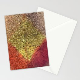 Golden leaves with purple pink and orange metallic look Stationery Cards