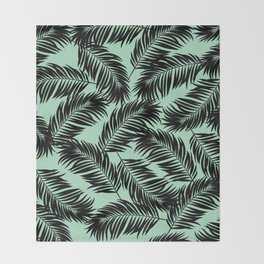 Palm Frond Tropical Décor Leaf Pattern Black on Mint Green Throw Blanket