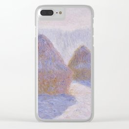 Haystacks, Effect of Snow and Sun by Claude Monet Clear iPhone Case