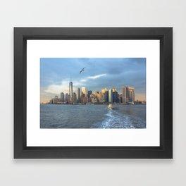 City Skyline w/ Bird Framed Art Print