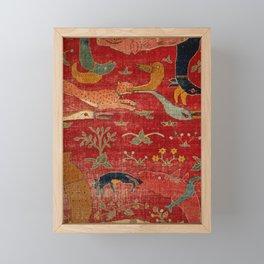 Animal Grotesques Mughal Carpet Fragment Digital Painting Framed Mini Art Print