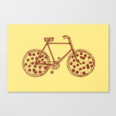 Bicycle with Pepperoni Pizza Tires Canvas Print