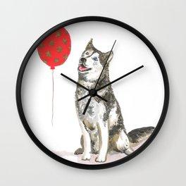 Husky With Balloon Wall Clock