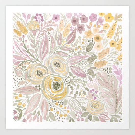 Watercolor . Flower meadow . 1 Art Print