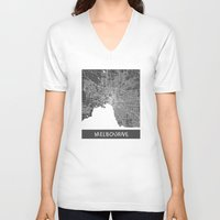 melbourne V-neck T-shirts featuring Melbourne map by Map Map Maps