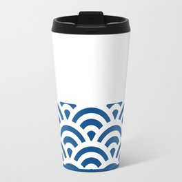 Rainbow Trim Deep Dark Ocean Blue Travel Mug