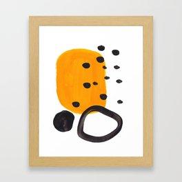 Mid Century Abstract Black & Yellow Fun Pattern Funky Playful Juvenile Shapes Polka Dots Framed Art Print
