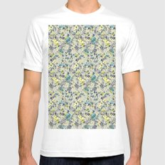 painted floral MEDIUM White Mens Fitted Tee
