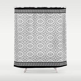Greek Key - Grey Lace Shower Curtain