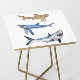Mako Blue White Tip Sharks Side Table