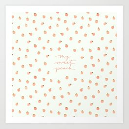 Sweet Peach Polka Dot, Mint Art Print