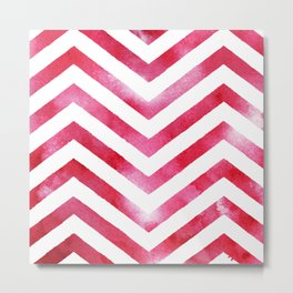 Watercolor Chevro, Red Chevron Striped Watercolor, Home And Accessories Metal Print