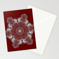 Spectacular fractal snowflake on textured red Stationery Cards