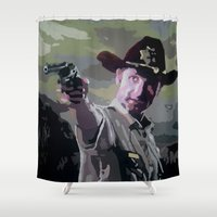 grimes Shower Curtains featuring Rick Grimes by Processed Image