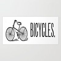 bicycles Art Prints featuring Bicycles by redone