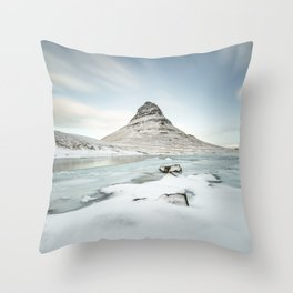 Mountain view at Mount Kirkjufell in Iceland Throw Pillow
