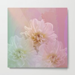 Painterly pastel flowers Metal Print