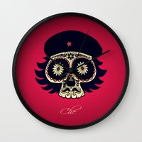 che Wall Clocks featuring Che by mangulica illustrations