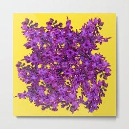 Golden Color Purple Hyacinths Abstract Modern Art Metal Print