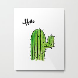 Hello Cactus Metal Print