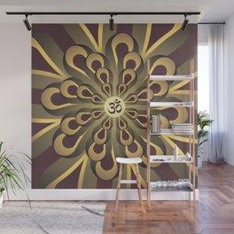 Om Mandala, Purple and Gold Fractal, Spiritual Gift, Yoga Lifestyle Wall Mural