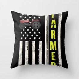 Patriotic Farmer US Flag Throw Pillow
