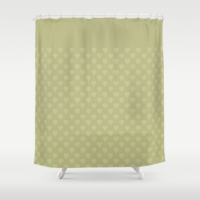 Mustard Color Monochrome Pattern Of Hearts Shower Curtain