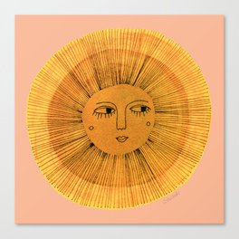 Sun Drawing Gold and Pink Canvas Print