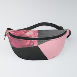 Pink, Black, & Gray Floral Geometric Fanny Pack