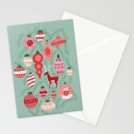Mid-Century Ornaments in Red and Mint Stationery Cards