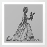 The Black Bunny of Doom and his Date Art Print