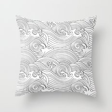 Japanese Waves Seamless Throw Pillow
