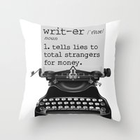 writer Throw Pillows featuring Writer Defined by Nicole Austin
