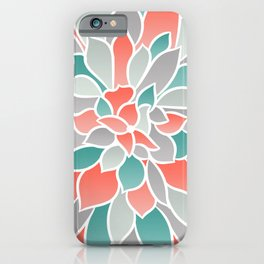 Floral Prints, Coral, Teal and Gray, Art for Walls iPhone Case