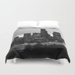 Seattle Skyline Sunset City - Black and White Duvet Cover