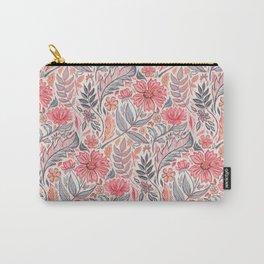 Melon Pink and Grey Art Nouveau Floral Carry-All Pouch