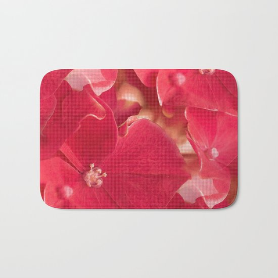 Red flower splendor - beautiful hydrangea blossoms Bath Mat