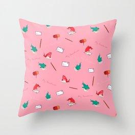 Pink Shark and Whale Shark Throw Pillow