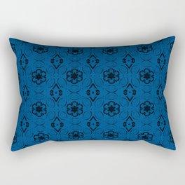 Lapis Blue Floral Geometric Pattern Rectangular Pillow