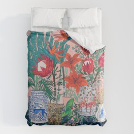 The Domesticated Jungle - Floral Still Life Duvet Cover