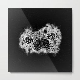 butterfly beautiful strong free splatter watercolor black negative Metal Print