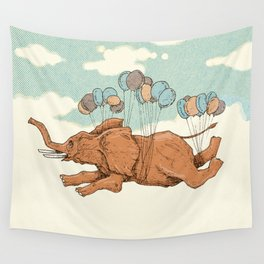 Flying elephant Wall Tapestry