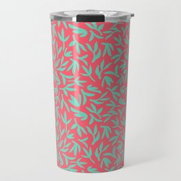Teal and pink leaves Travel Mug
