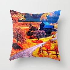 Farmhouse In Autumn Throw Pillow